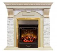 Каминокомплект Дублин крем арочный сланец (портал Royal Flame Dublin + очаг Fobos / Majestic)