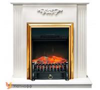 Каминокомплект Люмсден белый дуб (портал Lumsden + очаг Royal Flame Fobos / Majestic)