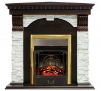 Угловой каминокомплект Дублин белый сланец (портал Royal Flame Dublin + очаг Majestic / Fobos)